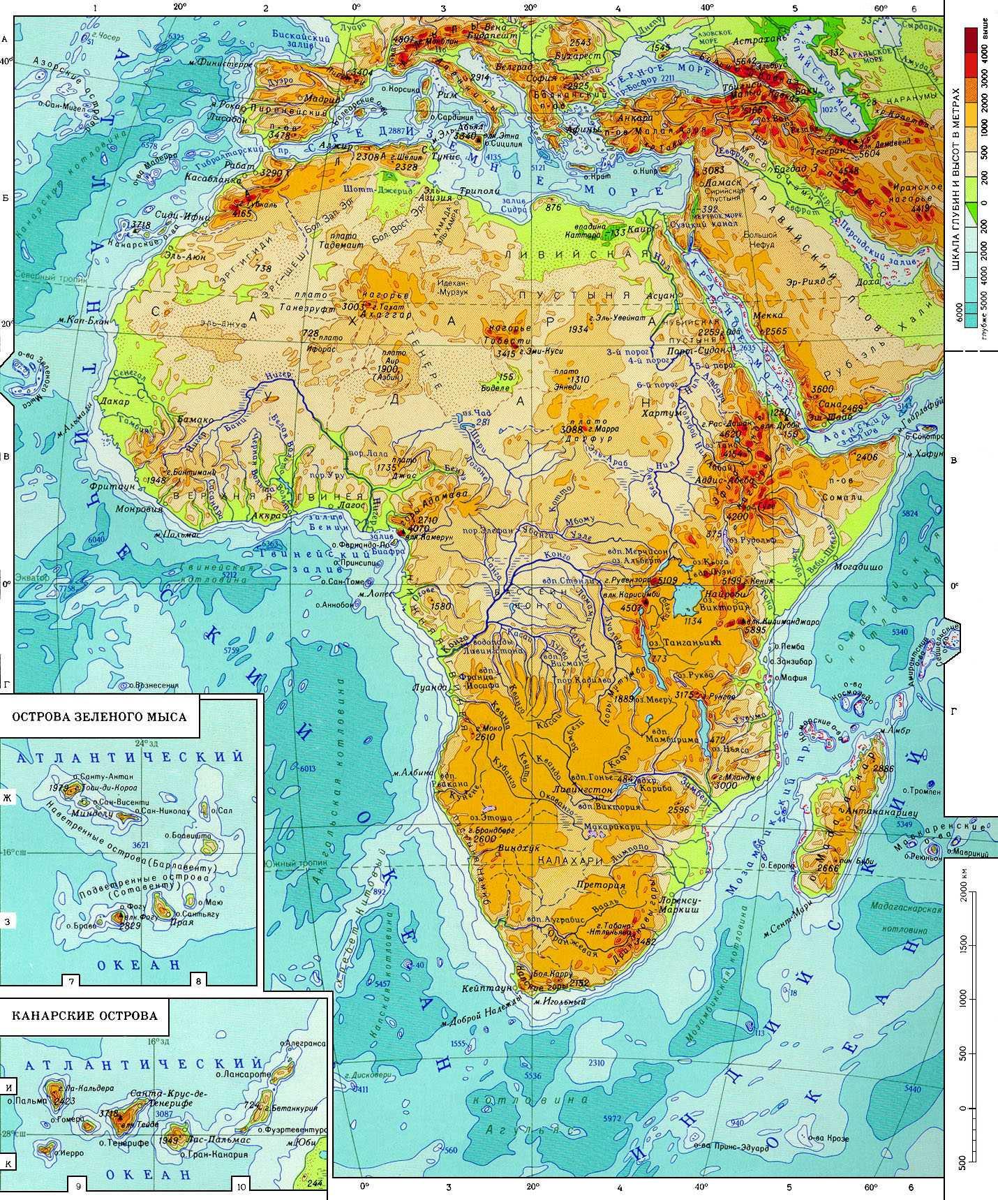 Высота над уровнем моря карта по странам