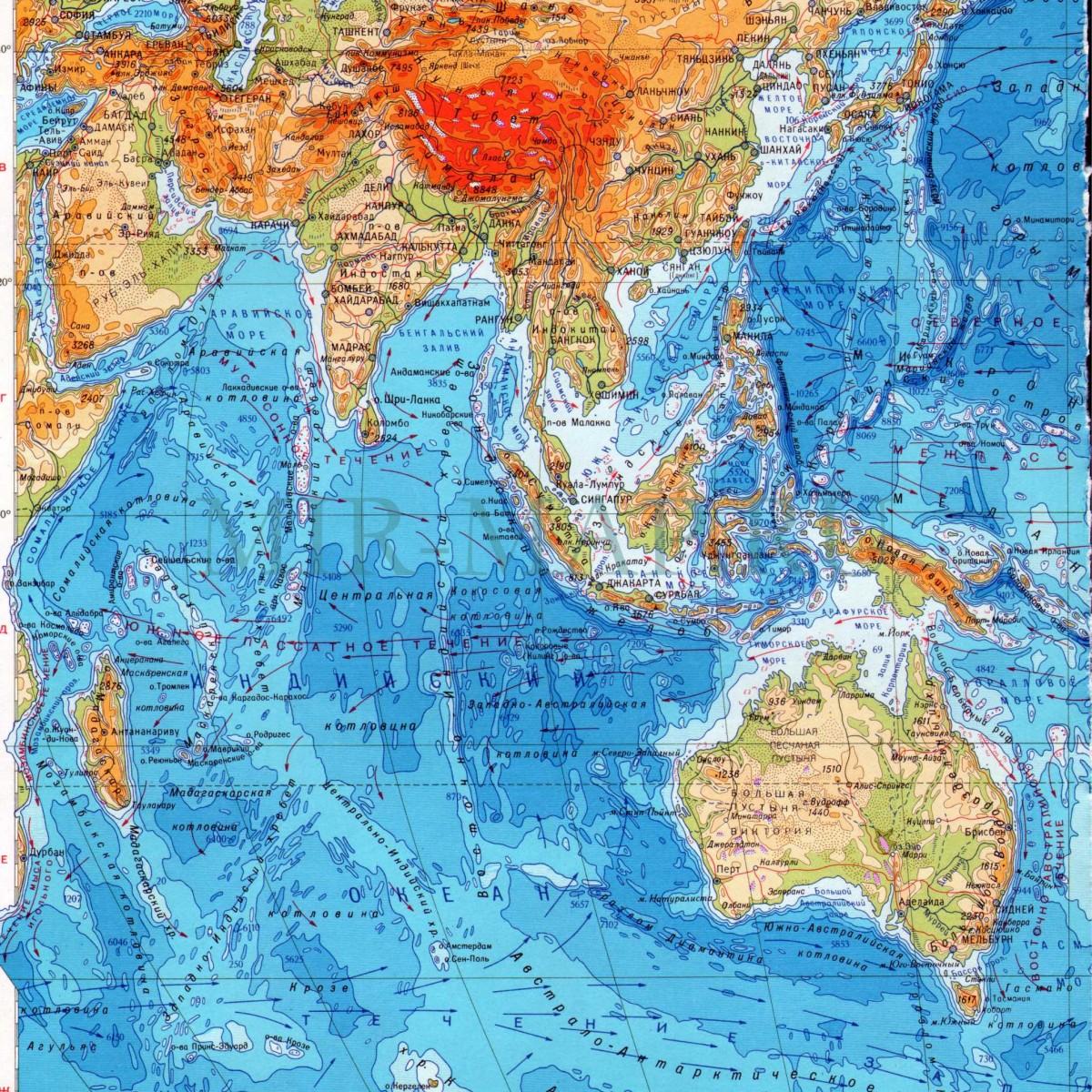 Максимальная и средняя глубина Индийского океана. Рельеф дна Индийского океана