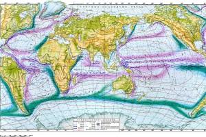 Течения и температура поверхностных вод (лето Северного полушария)