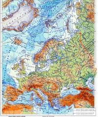 Физическая карта европейской части Евразии
