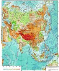 Физическая карта азиатской части Евразии.